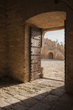 Door in the Alcazaba. The Alcazaba , with its 1430 m . walled perimeter is, after the Alhambra, Spain's largest Muslim construction . It was built at the behest stock photo