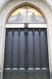 Door of the All Saints' Church, Wittenberg. Door of the famous All Saints' Church  (Schlosskirche) in Wittenberg, Germany, where Martin Luther nailed his 95 Stock Image