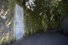 Door and Alley way. A wooden door in a dark damp alley Royalty Free Stock Image