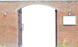 Door in the ancient brick wall isolated on white background, cli Stock Photography