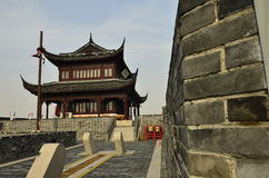 The door of ancient city wall under the blue sky in Suzhou,China. Stock Images