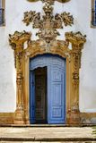 Door of ancient and historic church of San Francisco de Assis. Gateway to the ancient and historic church of San Francisco de Assis in the city of Ouro Preto Royalty Free Stock Photos