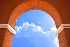 The door arch. Beautiful blue sky through the door arch Stock Images