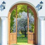 Door arch spring garden Stock Photo