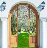 Door arch spring garden Royalty Free Stock Photo