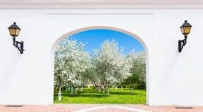 Door arch spring garden Stock Photos