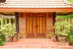 Door art and garden in thailand Stock Photography