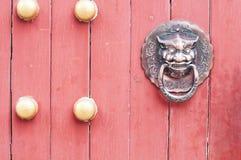 Door background. Closeup of red door outdoor Stock Photos