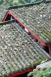 Chinese folk house roof closeup. Closeup of Chinese folk house in the forest Royalty Free Stock Photo