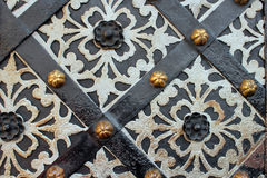 Door background. Part of an old decorated door with rhombus Royalty Free Stock Photo