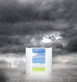 Door from bad weather Stock Image