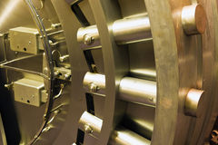 Door in bank safe deposit room Stock Photography