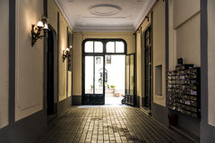 Door. A beautiful door opens the way for an interior court Royalty Free Stock Photos