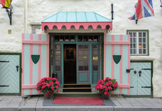 Door of a beautiful Tallinn hotel Royalty Free Stock Photo