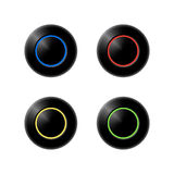 Door bell button. Set of four doorbell buttons with blue,red,yellow and green light Royalty Free Stock Photos