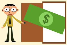 Door bill. Illustration of a dollar bill on an opened door Royalty Free Stock Image