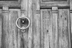 Door. Black and white photo of a detail in house door Stock Photography