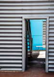 Through the Door: Blue Accent Wall Royalty Free Stock Images