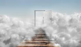 Door in blue sky and clouds. Door To Heaven. vector illustration