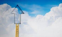 Door in blue sky. Imaginary image of ladder leading to door in sky Royalty Free Stock Photos