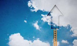 Door in blue sky. Imaginary image of ladder leading to door in sky Stock Photography