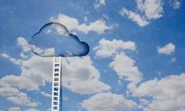 Door in blue sky. Imaginary image of ladder leading to door in sky Royalty Free Stock Photo