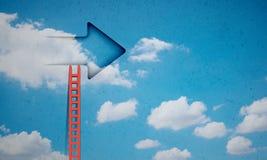 Door in blue sky. Imaginary image of ladder leading to door in sky Royalty Free Stock Photography