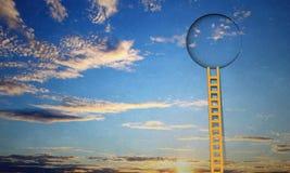 Door in blue sky. Imaginary image of ladder leading to circle door in sky Stock Photography