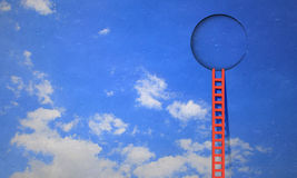 Door in blue sky. Imaginary image of ladder leading to circle door in sky Royalty Free Stock Images