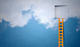 Door in blue sky. Imaginary image of ladder leading to square door in sky Stock Image