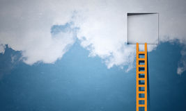 Door in blue sky. Imaginary image of ladder leading to square door in sky Stock Photography