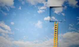 Door in blue sky Royalty Free Stock Photography
