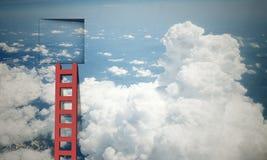Door in blue sky. Imaginary image of ladder leading to square door in sky Stock Photos