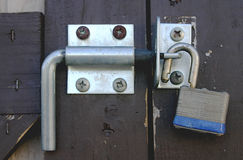 Door Bolt Unlocked Stock Photo