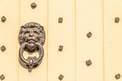 Door with brass knocker in the shape of a lion`s head, beautiful Stock Photos
