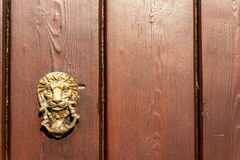 Door with brass knocker in the shape of a lion`s head, beautiful Royalty Free Stock Photos