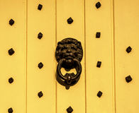 Door with brass knocker in the shape of a lion& x27;s head, beautiful Stock Photo