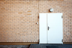 Door in a brick wall Stock Images