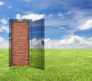 Door with brick wall Stock Image