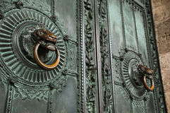 Door in bronze Montmartre Stock Photo