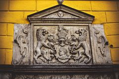 Door of the Brotherhood of Blackheads royalty free stock image