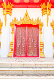 Door of Buddha church at the Thai temple Royalty Free Stock Image