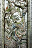 Door of buddhist temple,hammered, chased Royalty Free Stock Photography