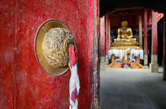 Door in Buddhist temple. Royalty Free Stock Image