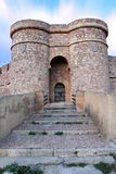 Door of the castle. The entrance to the chinchilla castle, in albacete province Royalty Free Stock Image
