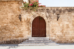 Door in the castle courtyard. Royalty Free Stock Photography