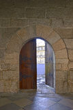 Door at castle in Guimaraes Royalty Free Stock Images