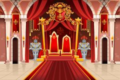 Medieval Artwork with Royal Armors. Door of the castle and windows, ancient rich medieval artwork with royal armor of knight guard. Image with throne of the king vector illustration