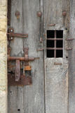 The door of a cell of the former prison of Chateau-du-Loir, France, was closed Stock Image