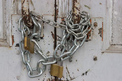 Door with chain and padlock Stock Photography